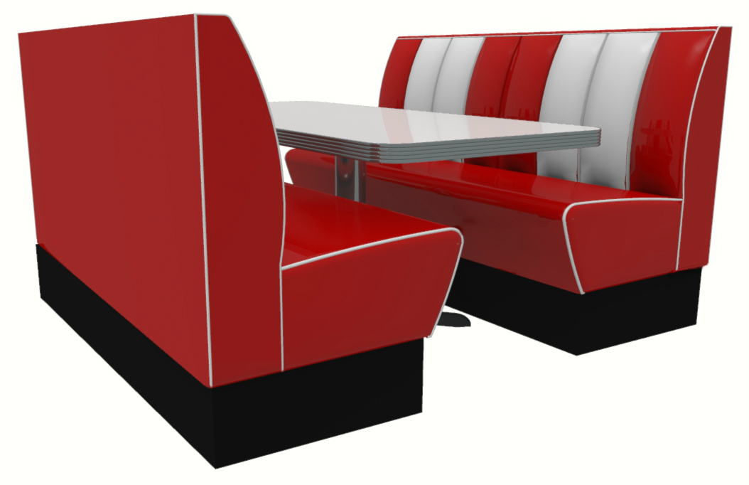 Memphis American Diner 4 Seater Retro Booth Set